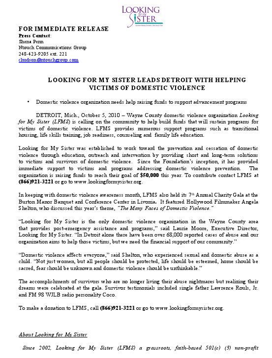 Press Release Samples 2 Shena Penn